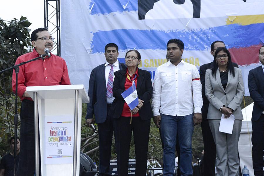 El secretario General del FMLN, Medardo González, reiteró el apoyo del gobierno a Venezuela, recordando las ayudas que el país sudamericano ha realizado en el país.