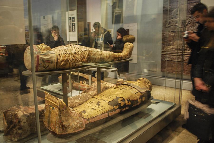 Exhibición de las momias de Egipto en el Museo Británico, ubicado en la ciudad de Londres.  La colección del Museo Británico  se centra en el arte antiguo principalmente. Foto: Nicole Chicas