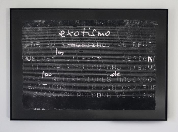 Pulse: Exotismo al revés (Homage, Janine Janowski and Rosa Mena Valenzuela), tintas de archivo pigmentadas sobre planchas de aluminio anodizado, 2020, RECORD: Cultural Pulses, RoFa Projects. Foto y copyright: Muriel Hasbun.