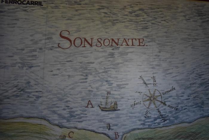 Un mapa nos muestra como los conquistadores ubicaban las áreas conquistadas en Sonsonate.
