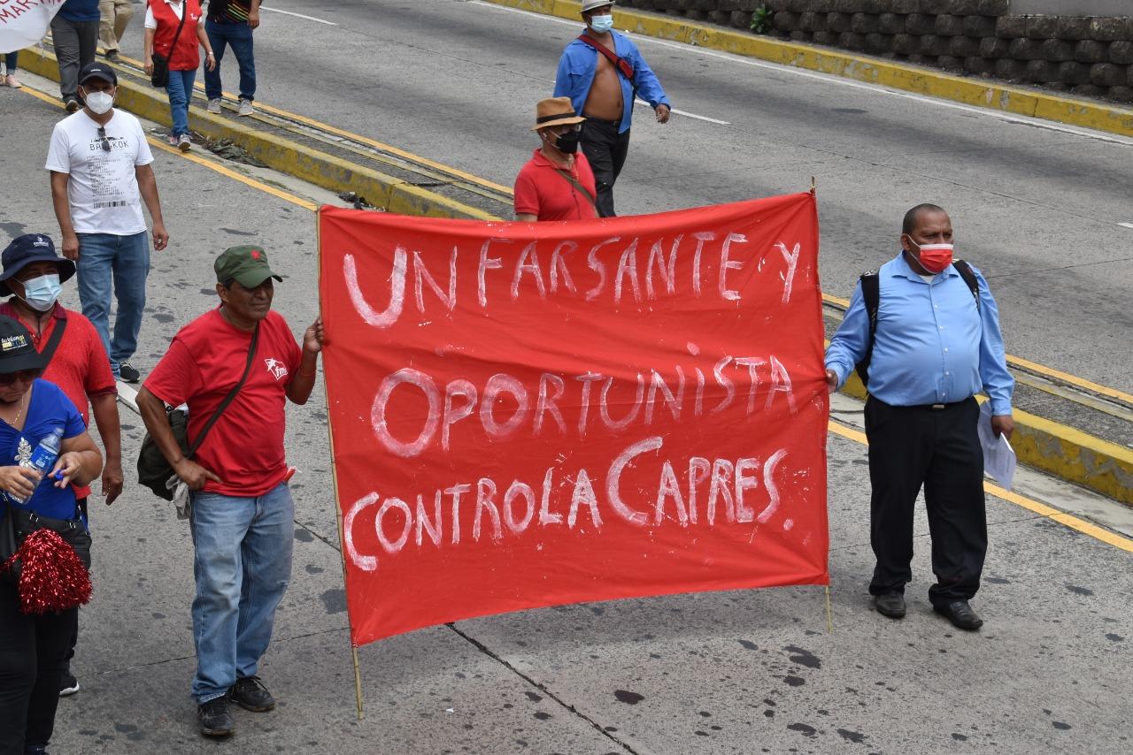 La marcha se desplazó hasta Casa Presidencial, dónde sindicalistas y trabajadores tomaron la palabra, para hacerlas llegar al órgano Ejecutivo.